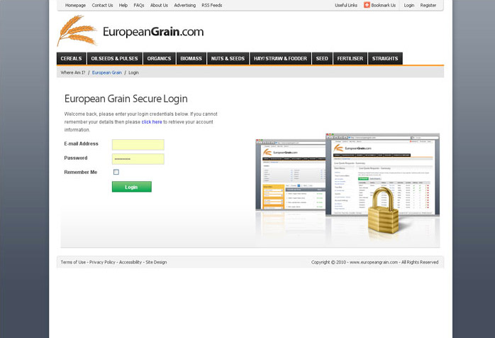 European Grain Website Design
