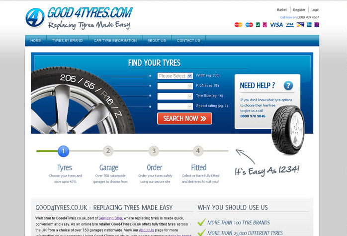 Good 4 Tyres Website Design