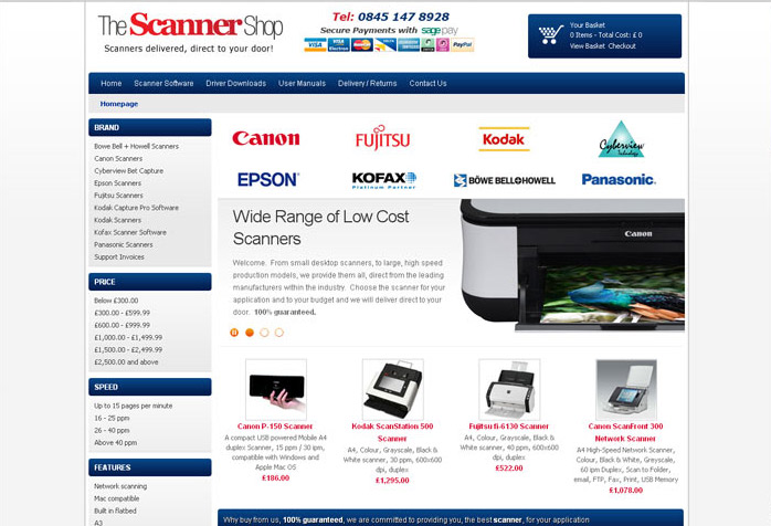 Scanner Shop Website Design