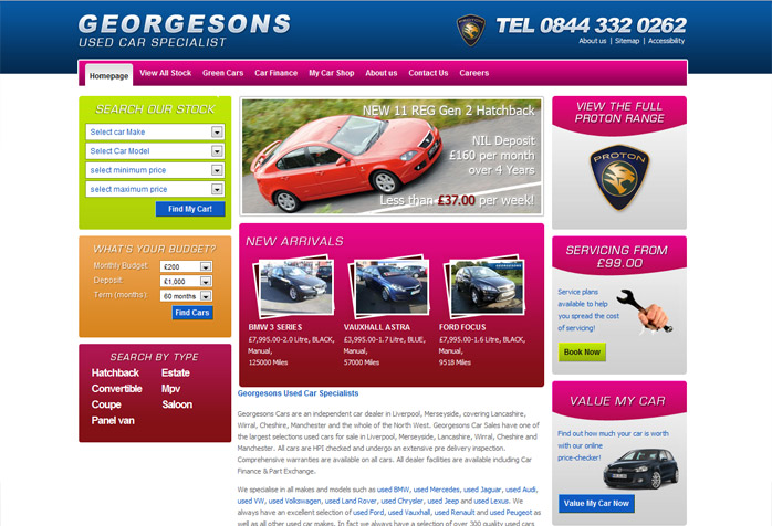 georgesons car dealer website