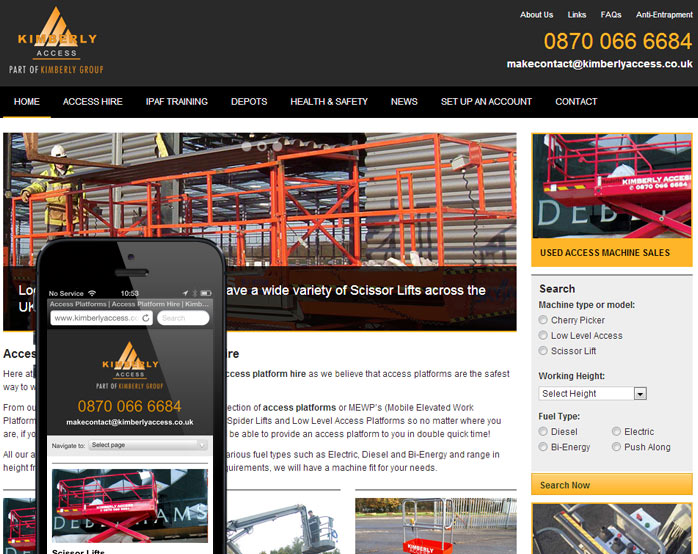 Kimberley Access Mobile website screenshot