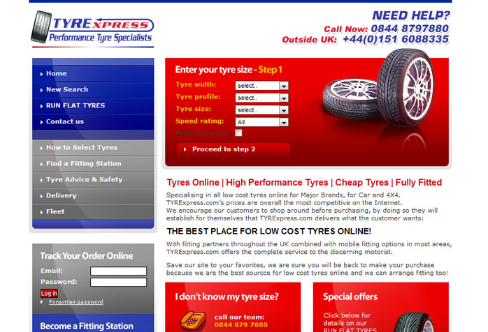Tyrexpress Car tyre Website